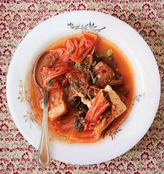 Kimchi Stew Recipe - This traditional Korean stew makes good use of long-aged kimchi. Pork Belly Recipes, Best Vegetarian Recipes, Spicy Recipes, Asian Recipes, Cooking Recipes, Ethnic Recipes, Asian Foods, Kimchi Stew Recipe, Radish Kimchi