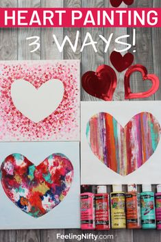 Heart Painting on Canvas – 3 ways! Easy Tutorial for Kids & Adults. Heart Painting on Canvas – 3 ways! Easy Tutorial for Kids & Adults. Easy Paintings For Beginners, Acrylic Painting For Beginners, Easy Canvas Painting, Heart Painting, Diy Canvas Art, Painting For Kids, Diy Painting, Art For Kids, Kids Fun