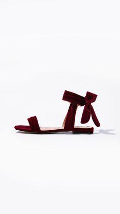 Liana Velvet Sandals in Wine