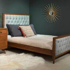Skylar Bed with Tufted Panels Modern Baby Furniture, Modern Crib, Cottage Furniture, Blue Furniture, Retro Furniture, Sofa Furniture, Custom Furniture, Kids Furniture, Wooden Bed Base