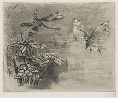 Ex-libris: Papillon et libellule, Félix Hilaire Buhot, circa 1874-1885.