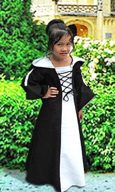Medieval Maiden Dress for Girls with Hood and Laces, Handmade in Natural Cotton on Etsy, $103.95