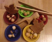 Wooden Sorting Acorns & Bowls Montessori Toys by HiddenPandaStudio Montessori Color, Montessori Toys, Christmas 2016, Toys Shop, Acorn, Sorting, Gingerbread Cookies, Wooden Toys, Gifts For Kids