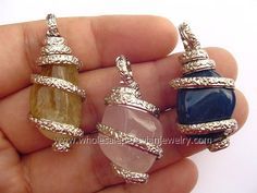 Agate Stone Alpaca Silver Coils Pendantshttp://www.wholesaleperuvianjewelry.com