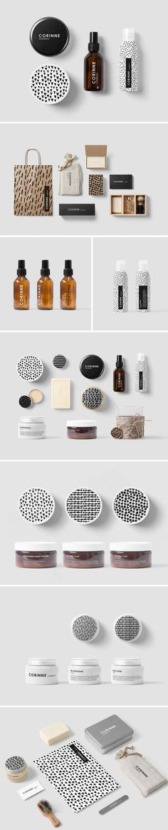 Corine Cosmetics Packaging Design - each container is customized with a hand drawn pattern against a sleek background