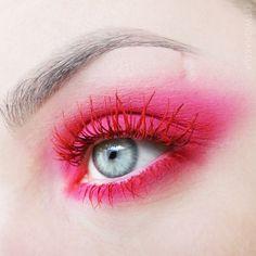 red eyelashes red lashes pink make up editorial fashion minimalist avant garde