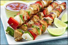 Chicken Fajita Skewers and Grilled Apple 'n Sausage Kebabs recipes from Hungry Girl!  Pin away, PEOPLE!