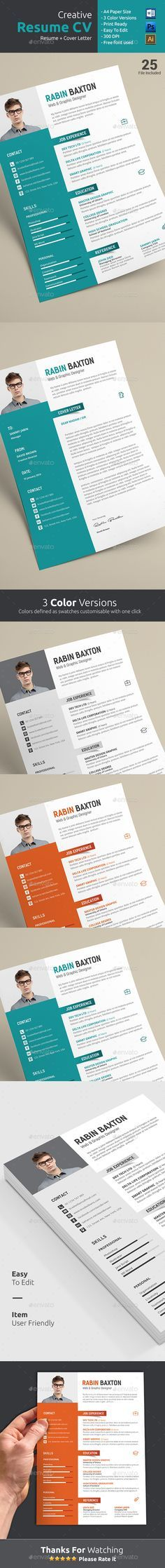 Flat Resume Set in 5 Variations by