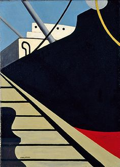 At the Dock, Oil on canvas. Ralston Crawford (September 1906 - April was an American painter, lithographer, and photographer, best known for his Precisionist and Purist representations of urban life and industry. City Painting, Painting Prints, Paintings, Charles Sheeler, Grain Silo, Dallas Museums, Modern Art Movements, Make Pictures, Face Photo