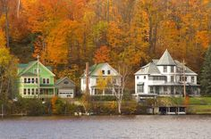 This scenic village in the Adirondacks offers miles of lakes, mountains, and hiking trails surrounded by the beautiful fall colors this region is known for.  For more information, visit Saranaclake.com.   - CountryLiving.com