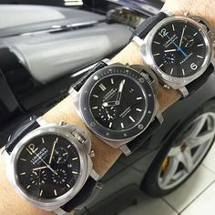 You need more than a wrist to enjoy these three beauties. Which is your favorite? #Panerai PAM356 Luminor Daylight Chrono. PAM389 Submersible Amagnetic PAM362 Luminor Chrono Rattrapante All set to a...