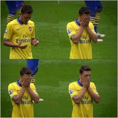 Mesut Ozil prays before every game
