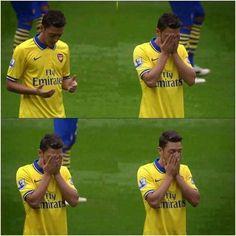 Mesut Ozil prays before every game
