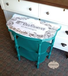 This sweet little table got a fresh new look with Fusion Renfrew Blue Mineral Paint.The Fusion Transfer Gel works its magic as a decoupage medium too! Furniture Refinishing, Furniture Makeover, Painted Furniture, Diy Furniture, Painted Tables, Decoupage Ideas, Chalk Painting, Mineral Paint, Hidden Treasures