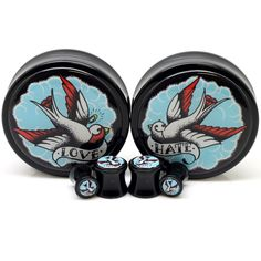 """Stay Gold Love Hate Sparrow Ear Gauges  Ear Plugs    $29.99    These limited edition Stay Gold ear plugs feature a sparrow design! Each plug in this pair has sparrows that face the opposite direction. Once scroll beneath the sparrow reads """"Love"""" and the other """"Hate"""". These plugs are double flared and made from acrylic."""