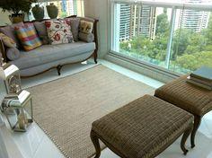 Produção de tapete de sisal com fio de algodão de 50 cabos. Projeto realizado para a varanda da Arquiteta Elaine Matos.