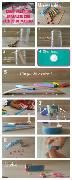 Tutorial DIY para niños - Cómo hacer un brazalete con un palito de helado o de madera.