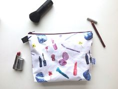 Watercolor Makeup Divided Flat Bottom Pouch by handmadephilosophy