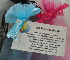 70th survival kit female. male novelty birthday by CheerUpCrafts