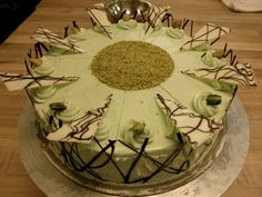 ... than a chocolate-pistachio torte with warm chocolate ganache