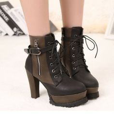 Top Quality Black Zipper PU Round Closed Toe Chunky Super High Heel Boots