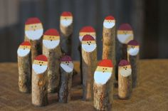 """Tree Branch Santas - Primitive Santa - Rustic Christmas   $15  Hand Painted Log Santa's - Rustic Christmas Décor.  This Adorable Set is Made with Fresh Hardwood Branches.  Hand Painted Hats, Beards and Faces.  The Bare wood is lightly sanded to open the pores. This helps the paint better adhere to the wood. Painted with Valspar Reserve Paint + Primer with HydroChroma, For a finish that will last.  ******************************  Approx Measurements: 3"""" - 6"""" ( 8cm-16cm) in Height 1-2""""…"""