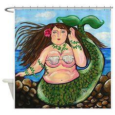 Chubby Mermaid Fun Folk Art Whimsical Colorful Bathroom Shower Curtain