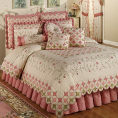 The cotton Cora's Garden Quilt Set includes a bed quilt, bedskirt with drop, and sham(s). Oversized quilt is ivory with a cathedral window quilting pattern on top and bottom in coral pink, paradise pink, and pale green. Colchas Country, Cathedral Window Quilts, Cathedral Windows, Paisley Quilt, Shabby Chic Bedrooms, Quilt Bedding, Bed Quilts, Pink Bedding, Vintage Quilts