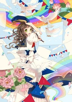 This is a cute anime wallpaper. We see an anime girl painting pretty doves that are coming to life.
