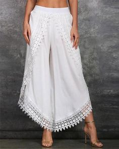 Another great find on White Lace-Trim Tulip Pants - Women & Plus by Simply Couture Loose Pants, Wide Leg Pants, Leggings, Harlem Pants, Tulip Pants, Harem Trousers, Trousers Fashion, Sport Pants, Cotton Pants