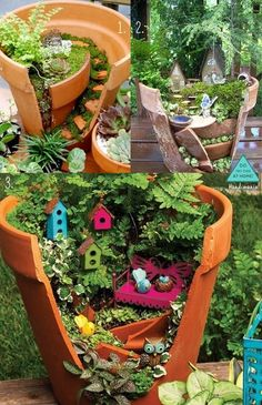 Funny pictures about Broken Pots Turned Into Beautiful Fairy Gardens. Oh, and cool pics about Broken Pots Turned Into Beautiful Fairy Gardens. Also, Broken Pots Turned Into Beautiful Fairy Gardens photos. Fairy Garden Plants, Gnome Garden, Garden Pots, Garden Birds, Fairy Pots, Potted Garden, Planter Garden, Backyard Plants, Succulent Gardening