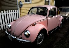Old Parked Cars.: 1969 Volkswagen Beetle VW Automatic Stick shift.