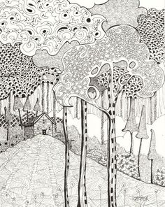 Zentangle Woodland, 8x10 Original Ink Drawing. $45.00, via Etsy. black and white layers