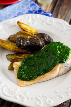Salmon with Kale Chimichurri using Kale from the garden.