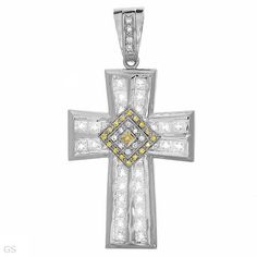 Heavy Sterling Silver Cross Pendant with Cubic Zirconia