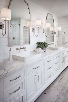 Shiplap bathroom wall with white cabinetry, white marble countertop, wall mount faucet and rustic looking floor tile. shiplap-bathroom-wall-with-white-cabinetry-and-rustic-looking-floor-tile Tracy Lynn Studio bathroom ideas Bathroom Inspiration, Shiplap Bathroom Wall, Bathroom Remodel Master, White Cabinetry, White Marble Countertops, Farmhouse Master Bathroom, Rustic Master Bathroom, Bathroom Vanity Remodel, Bathroom Design