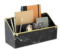 Turn heads in the office with their Getchell desk organizer. Made of durable marble-patterned paperboard with contrasting metal trim, this item is sturdy enough to withstand the heavy workload while looking undeniably elegant. Hanging File Organizer, Wooden Desk Organizer, Desk Organizer Set, File Organiser, File Folder Organization, Desktop Organization, Paper Organization, Construction Paper Storage, Desktop Drawers