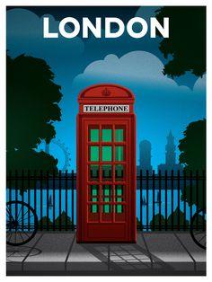 Vintage Travel Vintage London Travel poster by Ideastorm Media / Alex Asfour