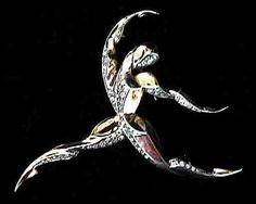 Marcel Boucher Sterling Vermeil Male Ballet Dancer - Boucher also created a female version of this brooch. They make a stunning pair. c.1940.  www.cooljools.com