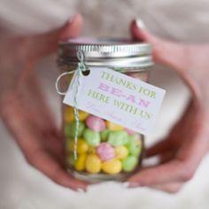 Wedding Favours- beans in a jar, so cute