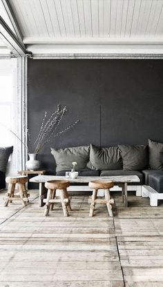 Modern rustic home in grey hues - Decoration suggestions - House interior ideas - Sneaky way to combine living room with eating space. Combine little chairs with a higher table however. Interior Design Inspiration, Home Interior Design, Interior Architecture, Interior And Exterior, Interior Ideas, Inspiration Boards, Interior Styling, Home Living Room, Living Spaces