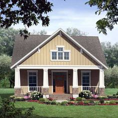 Bungalow Style House Plans - 1800 Square Foot Home , 1 Story, 3 Bedroom and 2 Bath, 2 Garage Stalls by Monster House Plans - Plan 2-176