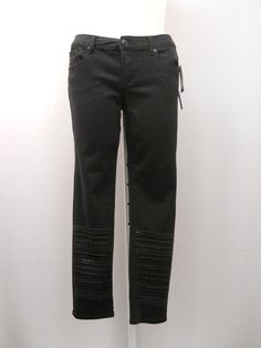 Seven7 Luxe Black Woman's Embellished Skinny Legs Mid-Rise 36X30 Jeans Size 14 #Seven7Luxe #SlimSkinny
