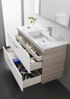 Modern small bathroom vanity with storage drawers vanity bathroomvanity vanityideas bathroom bathroomideas storage organization decorhomeideas. 16 Awesome Vanity Ideas For Small Bathrooms, Vanity Drawers, Bathroom Furniture, Trendy Bathroom, Modern Small Bathrooms, Bathroom Interior, Modern Bathroom, Bathroom, Small Bathroom Vanities, Bathroom Storage Cabinet