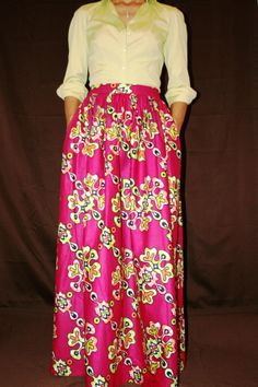 Long Maxi Skirt in African Fabric. Pleated with by MelangeMode, $105.00