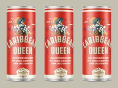 Caribbean Queen designed by Kevin Kroneberger. Connect with them on Dribbble; Caribbean Queen, Spiced Rum, Elderflower, Peterborough, Saint Charles, San Luis Obispo, Packaging Design Inspiration, Moscow Mule, Branding