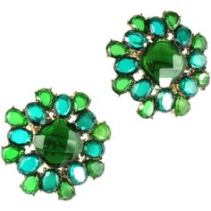 Monet Shades of Green Faceted Earrings from Anna's Vintage Jewelry on Ruby Lane
