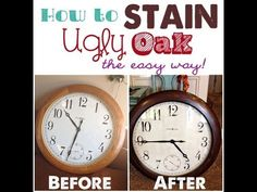 How to Stain UGLY Oak Wood Darker {easily} -- Golden Oak ( esp. kitchen cabinets, and bathroom vanities) really 'dates' a home. Here's a great way to update light oak, and give it a richness, and a much more current look! Do It Yourself Furniture, Do It Yourself Home, Furniture Makeover, Wood Furniture, Kitchen Furniture, Painting Furniture, Goodwill Furniture, Bedroom Furniture, Redoing Furniture