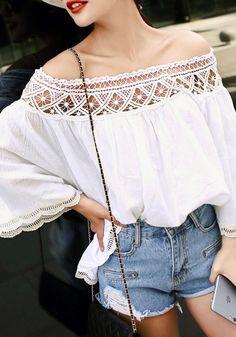 Lace Trim Off Shoulder Blouse – Lookbook Store