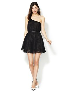 Lace Lined Silk One Shoulder Dress by Isabel Lu at Gilt